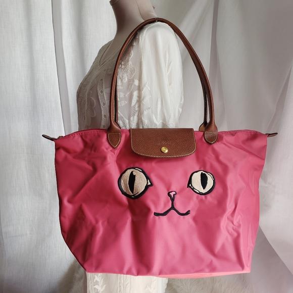 LONGCHAMP Le Pliage Miaou Cat Large Tote Bag, NWOT
